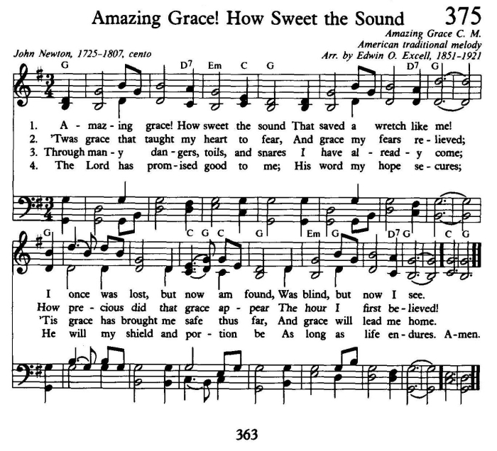 Amazing Grace Hymnal Titles Coloring Page