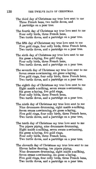 early versions - When Are The Twelve Days Of Christmas