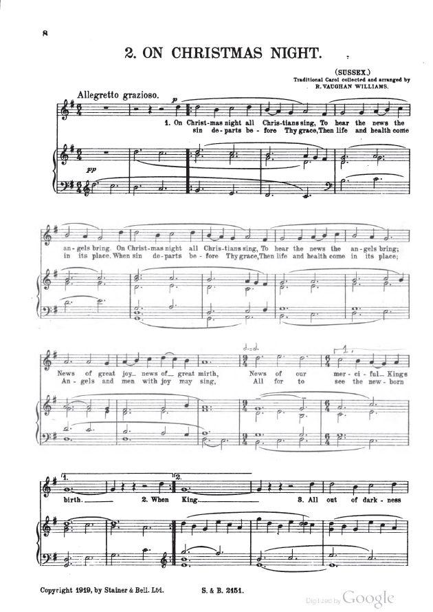 Carols london stainer bell ltd 1919 carol 2 on christmas night sussex