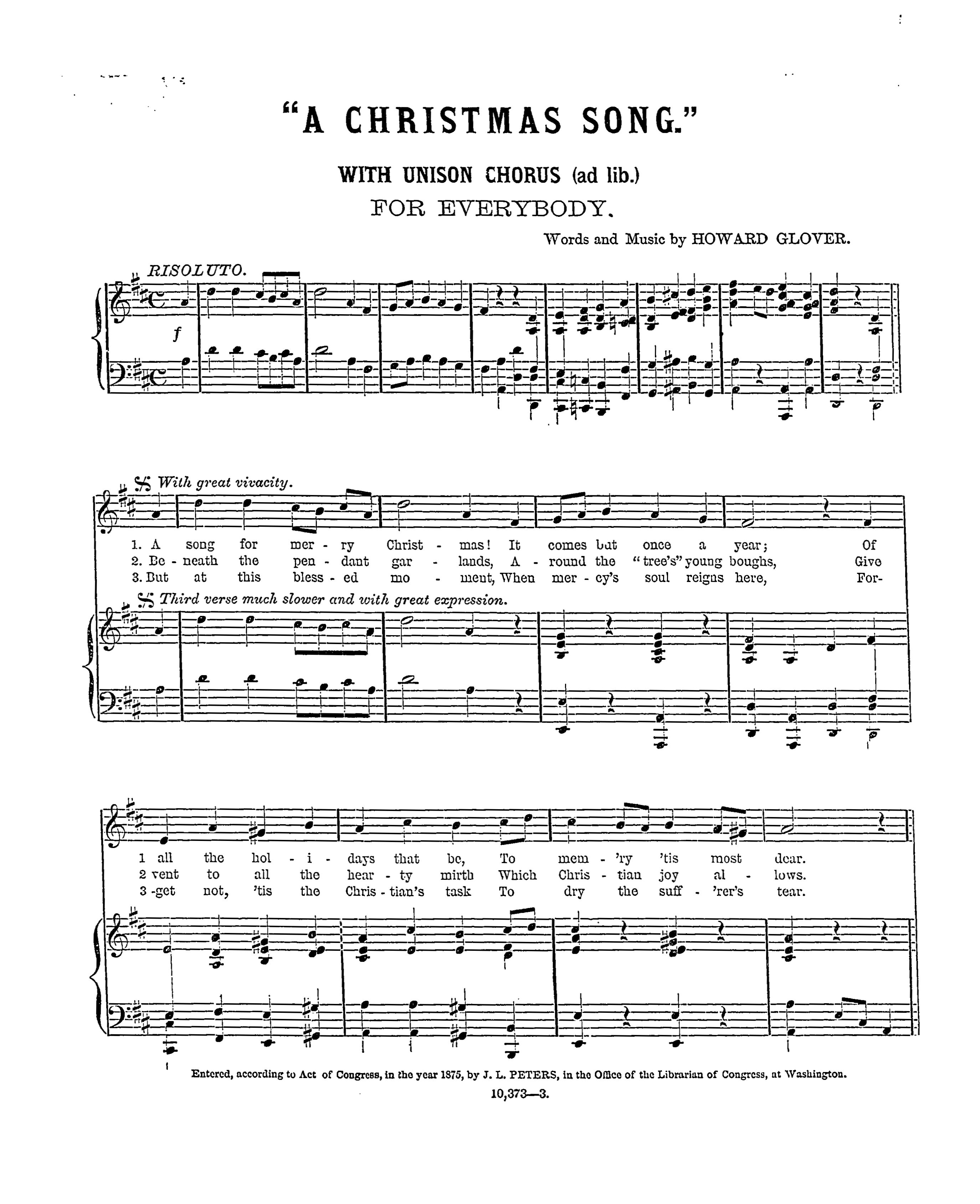 A Christmas Song by Howard Glover