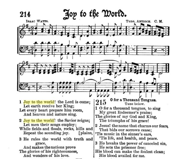 Sheet Music And Lyrics To Joy To The World: Joy To The World