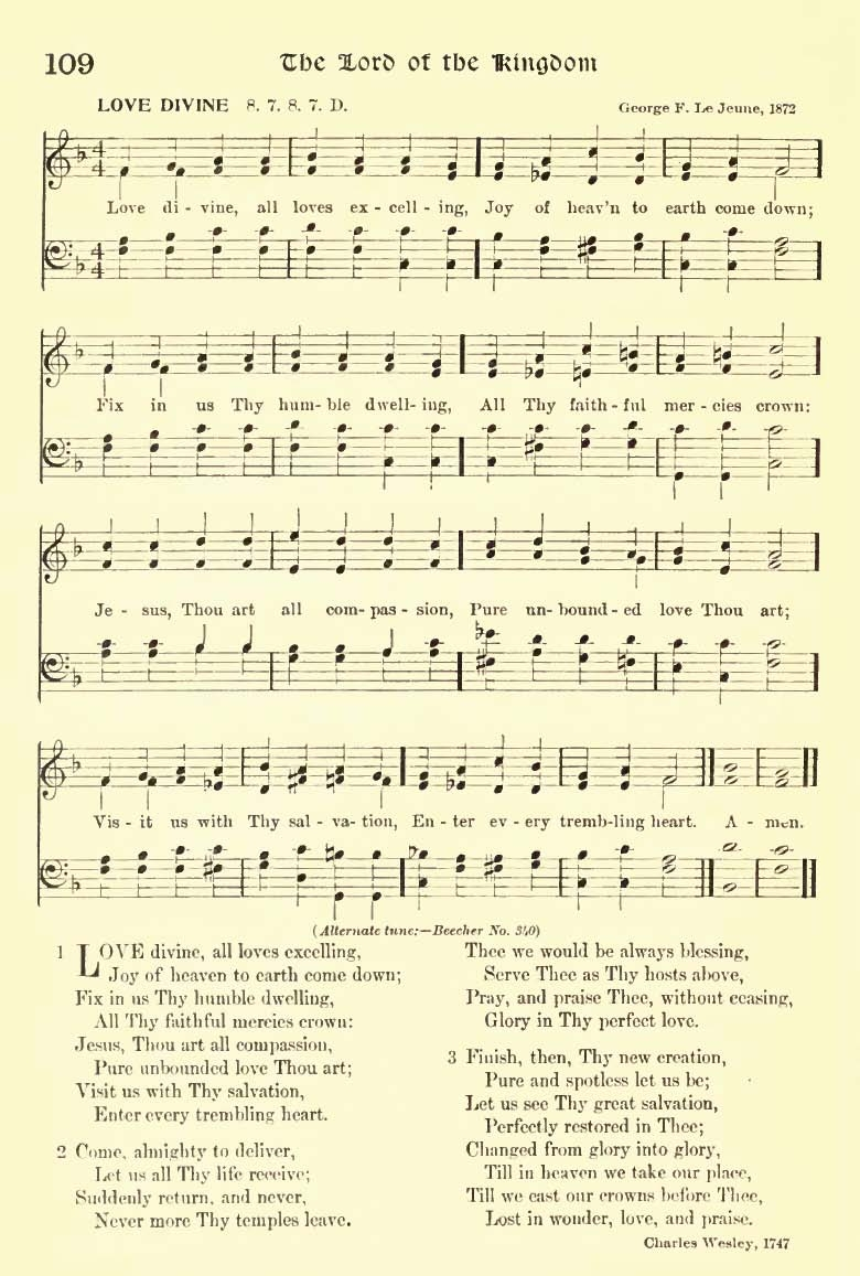 love divine all loves excelling sheet music love divine by george f le jeune 1872 from henry sloane coffin and ambrose white vernon eds hymns of the kingdom of god