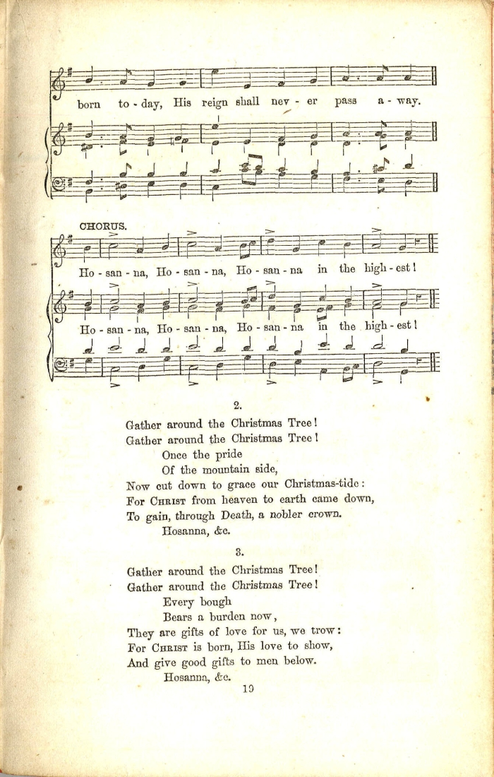 Beautiful Old Christmas Tree Song Part - 13: Sheet Music From John Clark Hollister, Ed., Chants, Carols, And Tunes: A  Supplement To The Sunday-School Service And Tune Book (New York: E. P.  Dutton And ...