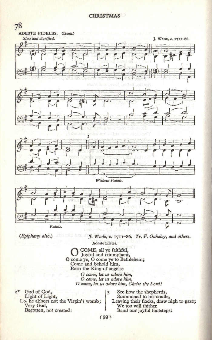 O come all ye faithful version 1 sheet music from j p mccaskey ed franklin square song collection no 1 new york harper brothers 1881 p 27 m4hsunfo