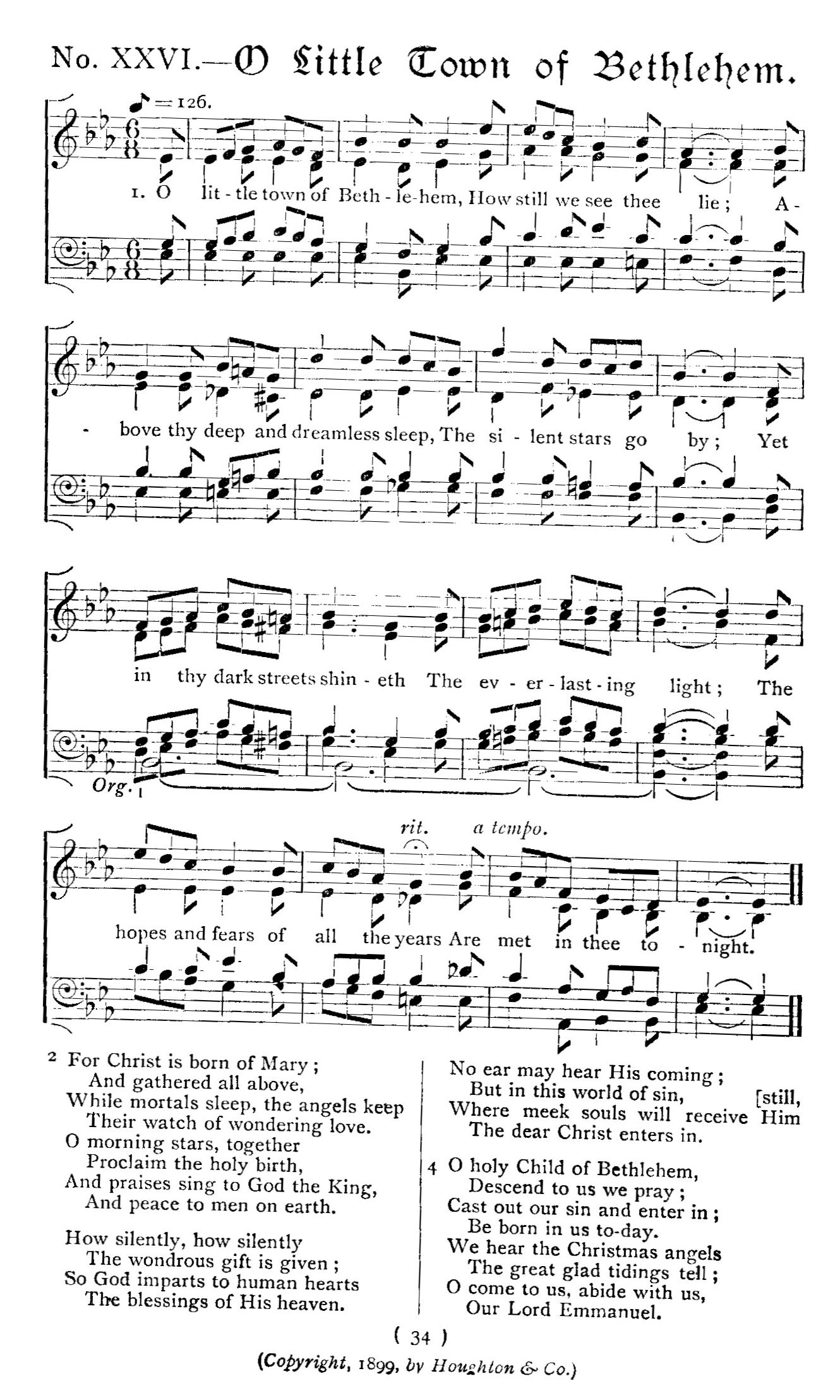O little town of bethlehem sheet music hexwebz Gallery