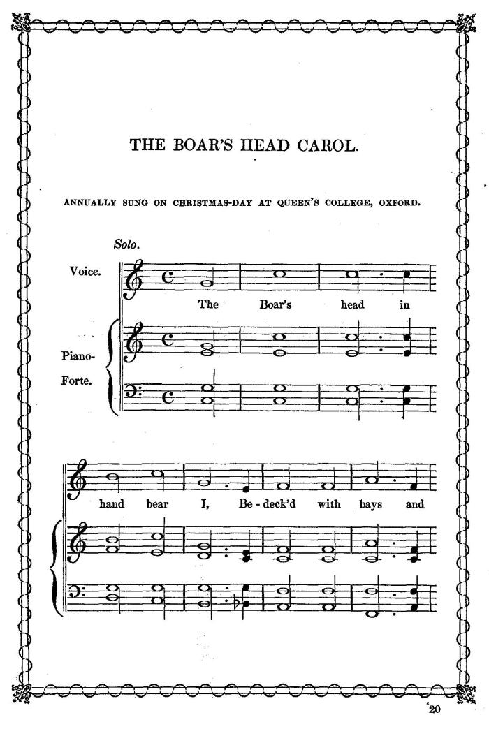 Sheet Music to the Boar's Head Carols