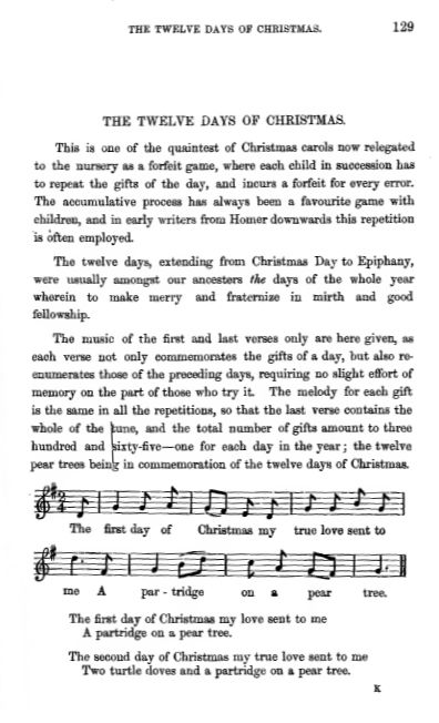 Twelve Days of Christmas - Notes on the Festival and the Carol
