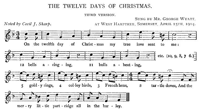 12 Days Of Christmas Sheet Music.The Twelve Days Of Christmas Version 1