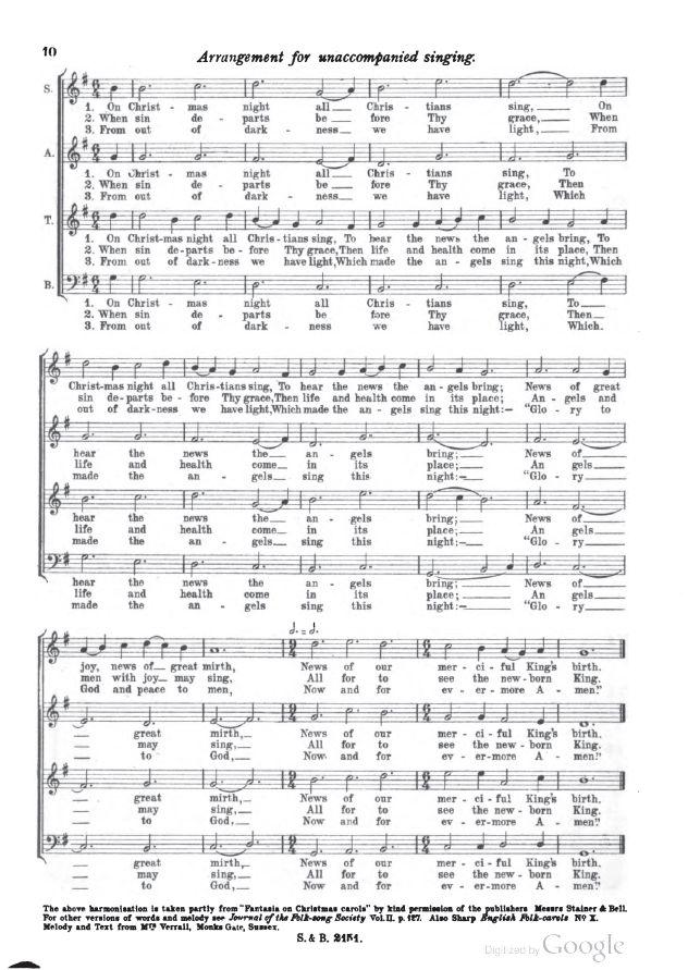 Bell ltd 1919 carol 2 quot on christmas night quot sussex pp 8 10