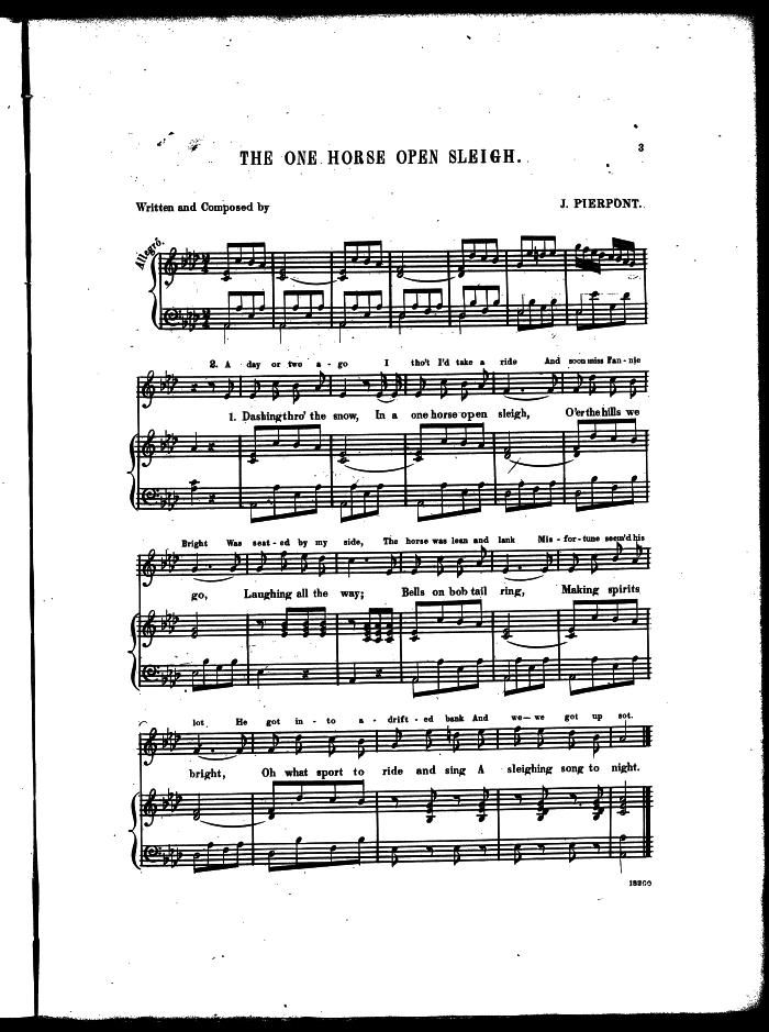 the modern melody and some of the lyrics are different than that originally written by mr pierpont especially the chorus these scans of the one horse
